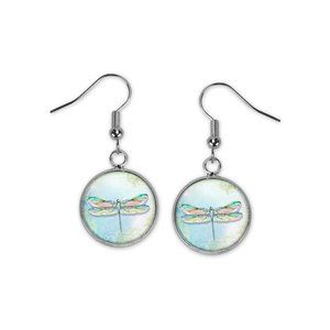 Dragonfly Art Dangle Earrings New Silver Nature